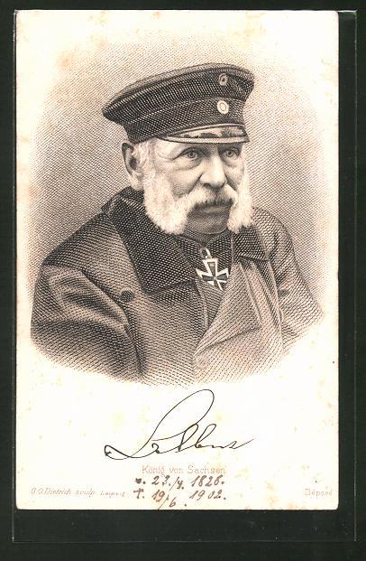 Künstler-AK Porträt Albert von Sachsen mit eisernem Kreuz und Mütze