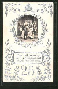Präge-AK Erinnerung an die Silberhochzeit des Kaiserpaares, Familienporträt und Silberornamente