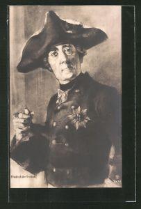 AK König Friedrich II. (der Grosse), Portrait mit Dreispitz