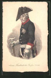 AK König Friedrich II. (der Grosse), seitliches Portrait in Uniform