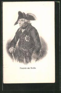AK König Friedrich II. (der Grosse), Portrait mit Gehstock
