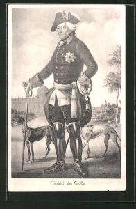 AK König Friedrich II. (der Grosse), Portrait mit seinen geliebten Windhunden