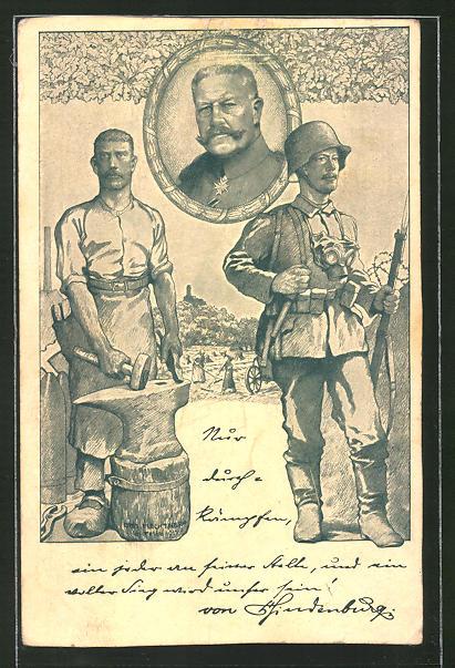 Künstler-AK Reichspräsident Paul von Hindenburg zwischen einem Schmied am Amboss und einem Soldaten in Uniform