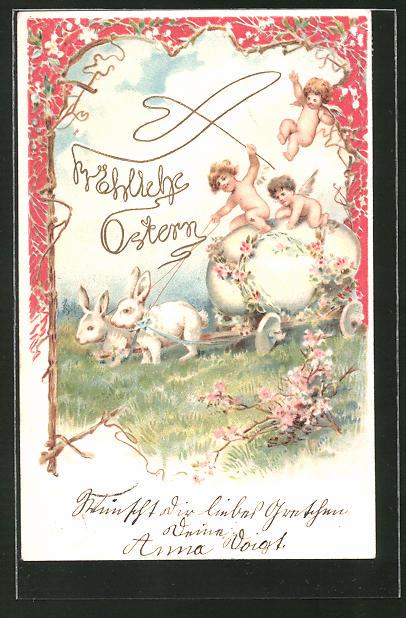 Präge-AK Engelchen auf einer Kutsche mit vorgespannten Osterhasen