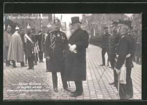 AK Kaiser Wilhelm II. im Gespräch mit dem Schweizer Bundespräsidenten Forrer