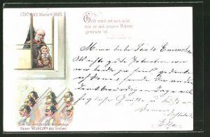 Lithographie Gott wird mit uns sein..., Zum 100 jähr. Geburtstag Kaiser Wilhelm's des Grossen