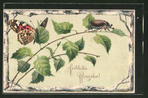 Präge-AK Fröhliche Pfingsten, Maikäfer und Schmetterling auf einem Birkenzweig