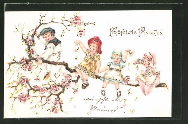 Präge-AK Fröhliche Pfingsten, Kinder sitzen auf blühendem Zweig