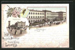 Lithographie Leipzig, Hotel zum Dresdner Bahnhof, Partie am Bahnhof