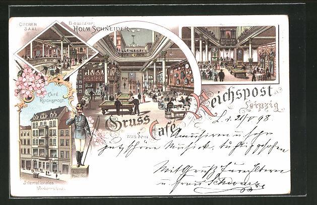 Lithographie Leipzig, Cafe Reichspost, verschiedene Ansichten, Intern. Verkehrslokal 0