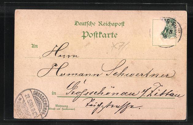 Lithographie Leipzig, Cafe Reichspost, verschiedene Ansichten, Intern. Verkehrslokal 1