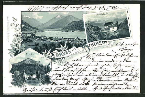 Lithographie Schliersee, Ortsansicht, Wendelstein, Birkenstein