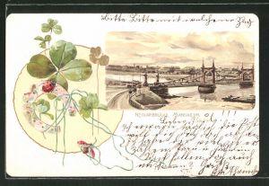 Präge-Lithographie Mannheim, Ortsansicht mit Neckarbrücke, Klee & Hufeisen
