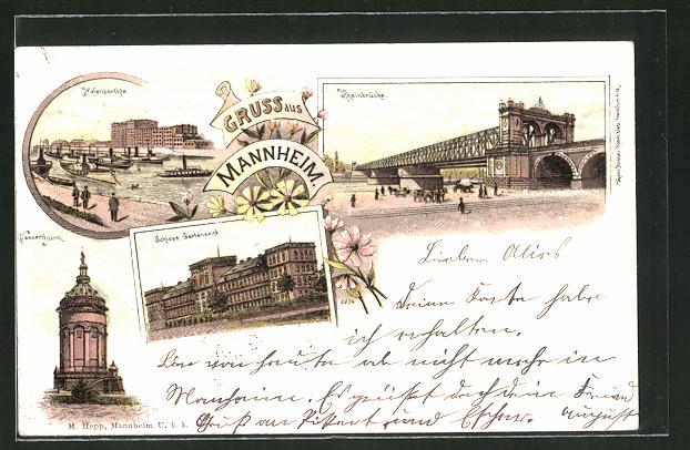 Lithographie Mannheim, Hafen, Rheinbrücke, Schloss, Wasserturm