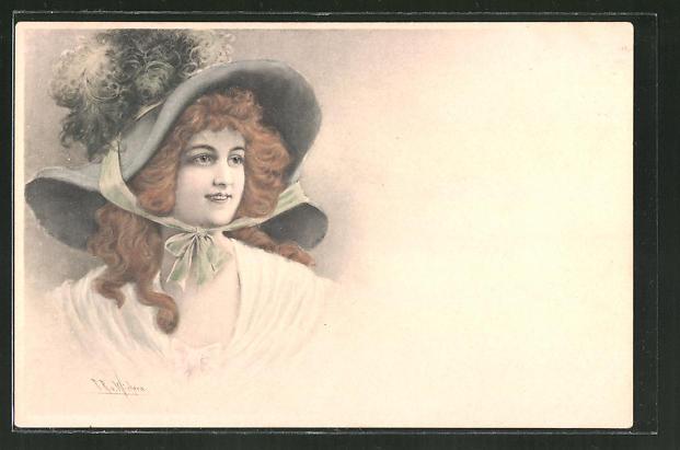 Künstler-AK Wichera: junge Dame mit wallendem Haar und Hut