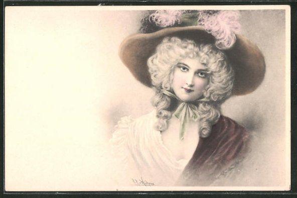 Künstler-AK Wichera: bezaubernde Dame mit Hut
