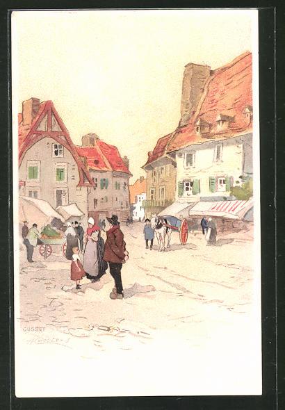 Künstler-Lithographie Henri Cassiers: Szene in Ortschaft
