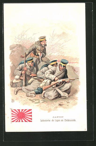 AK Japon, Infanterie de ligne en Embuscade, japanische Infanterie im Feld