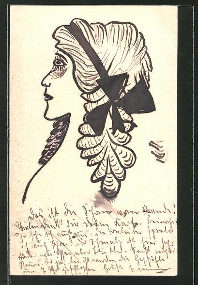 Künstler-AK Handgemalt: Profil einer Dame mit Haarschleife