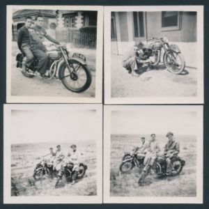 4 Fotografien Motorrad BSA, junge Männer bei Ausfahrt mit Krad, Kennzeichen SA25-416