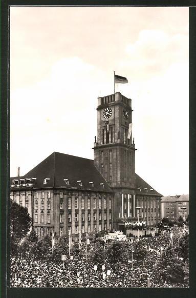 AK Berlin, Präsident Kennedy an der am Rathaus Schöneberg