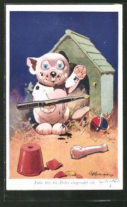 Künstler-AK George Ernest Studdy: Bonzo, Falls Dir die Feder eingerostet ist, Hund mit Füllfederhalter