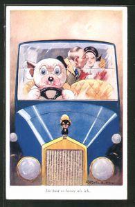 Künstler-AK George Ernest Studdy: Bonzo, Du hast es besser als ich, Hund chauffiert Liebespaar