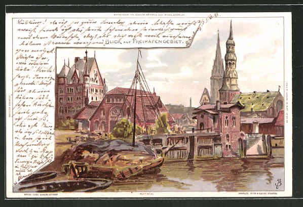 Künstler-AK Carl Biese: Hamburg, Blick auf das Freihafengebiet