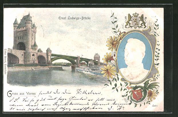 AK Worms, Ernst Ludwigs-Brücke, Grossherzog Ernst Ludwig von Hessen-Darmstadt