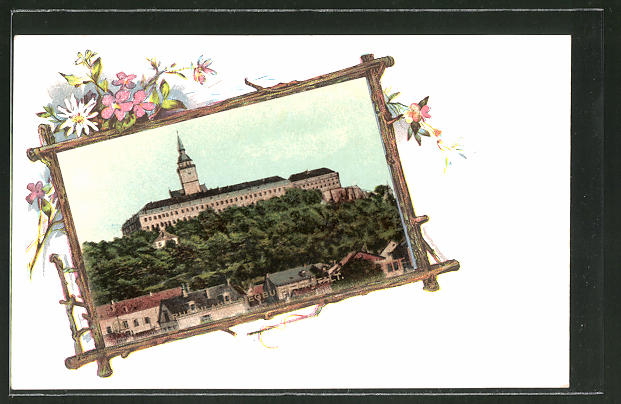 Passepartout-AK Siegburg, Strafanstalt, Rahmen mit Blumen