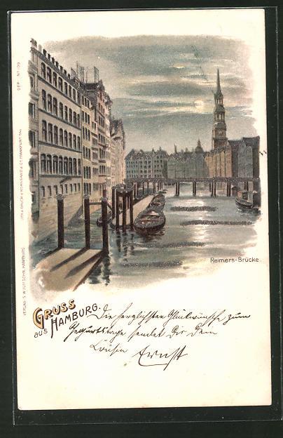 Glitzer-Lithographie Hamburg, Blick zur Reimersbrücke mit Glitzer-Perlen