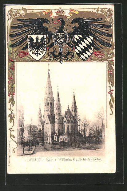 Passepartout-Lithographie Berlin-Charlottenburg, Kaiser Wilhelm-Gedächtniskirche, Wappen