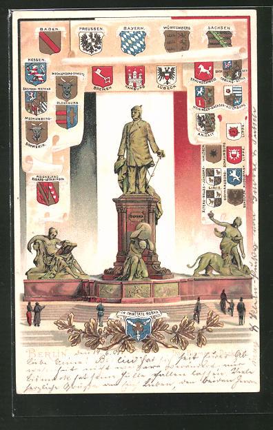 Passepartout-Lithographie Berlin-Tiergarten, Bismarck-Denkmal, Wappen