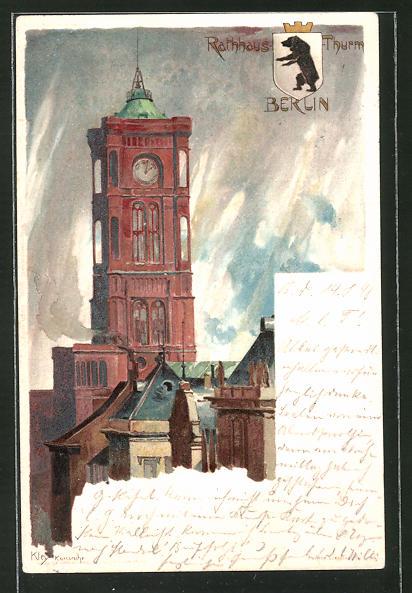 Künstler-AK Heinrich Kley: Berlin, Rotes Rathaus, Königstrasse