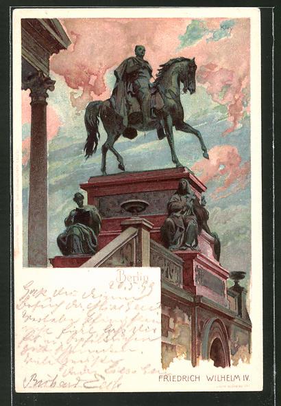 Künstler-AK Heinrich Kley: Berlin, Denkmal Friedrich Wilhelm IV.