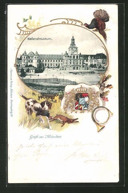 Passepartout-Lithographie München, Nationalmuseum in der Prinzregentenstrasse, Wappen, Jagdhund
