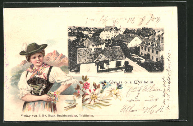 Passepartout-Lithographie Weilheim, Ortsansicht, Frau in Tracht