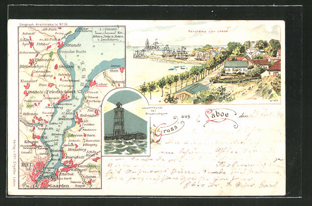 Lithographie Laboe, Ortskarte mit Umgebung, Leuchtturm und Panorama
