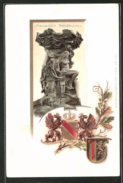 Präge-Passepartout-Lithographie Mannheim, Partie am Schlossbrunnen mit Wappen