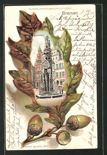 Passepartout-Lithographie Bremen, Rolandsäule in einem Eichenblatt