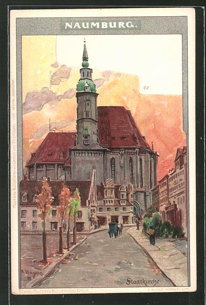 Künstler-AK Albert Stagura: Naumburg, Strasse zur Stadtkirche
