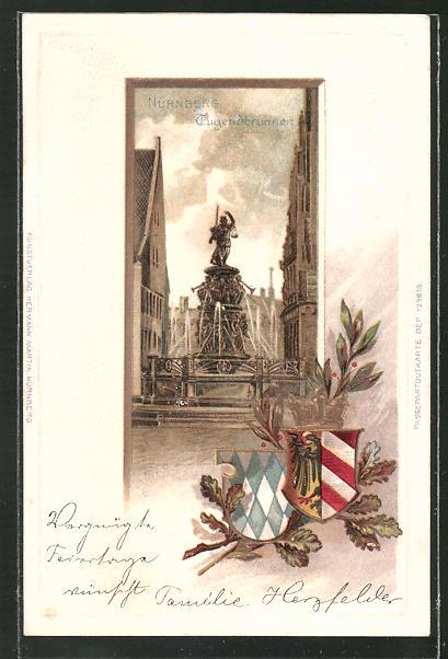 Präge-Passepartout-Lithographie Nürnberg, Partie am Jugendbrunnen mit Wappen