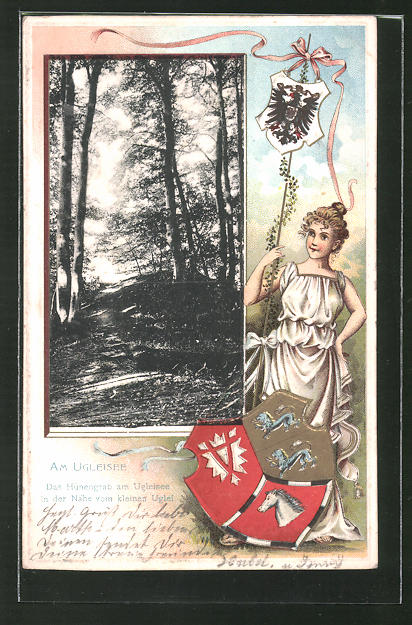 Präge-Passepartout-Lithographie Eutin, Das Hünengrab am Ugleisee in der Nähe vom kleinen Uglei mit Wappen