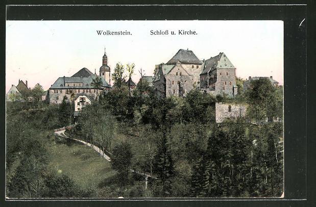 Goldfenster-AK Wolkenstein, Schloss und Kirche mit leuchtenden Fenstern