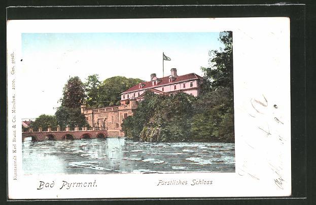 Goldfenster-AK Bad Pyrmont, Fürstliches Schloss mit leuchtenden Fenstern