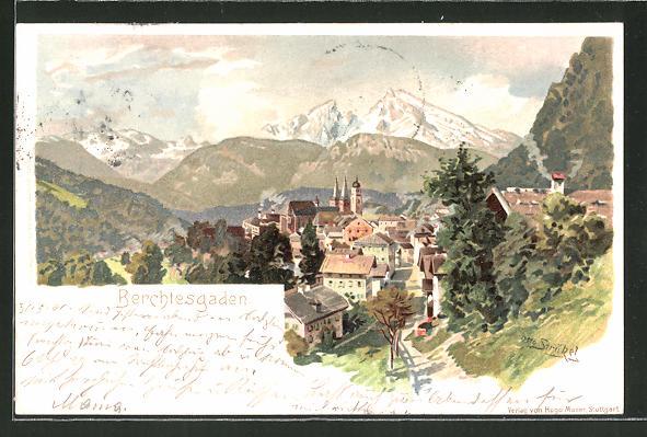 Künstler-AK Otto Strützel: Berchtesgaden, Ortsansicht aus der Vogelschau
