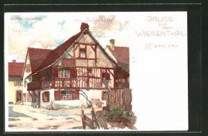 Künstler-AK Karl Mutter: Hausen i. Wiesenthal, Blick auf das Hebelhaus
