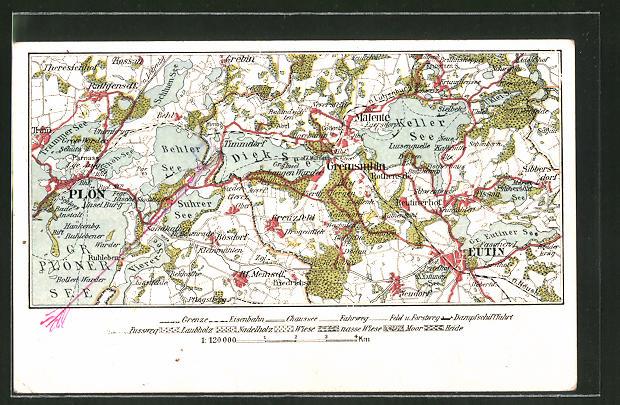 AK Plön, Landkarte der Region östliche der Stadt