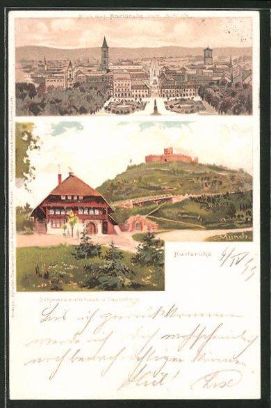 Künstler-AK Carl Münch: Karlsruhe, Schwarzwaldhaus und Lauterberg, Teilansicht vom Schloss aus