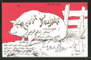 AK Prosit Neujahr, Sau mit Ferkel, Glücksschweine